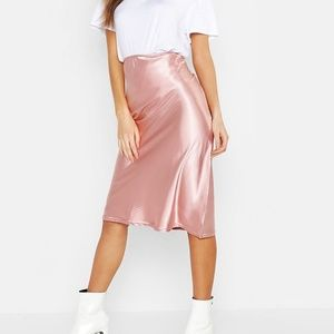 Boohoo Satin Cut Bias Midi Skirt